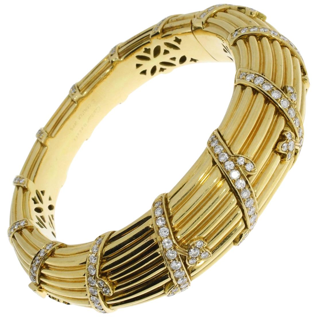 Cartier Diamond Gold Bangle Bracelet
