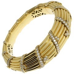 Cartier Diamond Gold Bangle Bracelet