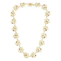 18 Carat Yellow Gold Necklace with Rubies, Pink Sapphires and Diamonds