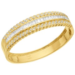Solid, Heavy, Wide, Cuff, 18 Carat Gold Round and Baguette Diamonds Set Bangle