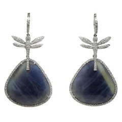 Blue Sapphire, Diamond and 18 Karat White Gold Dragonfly Drop Earrings