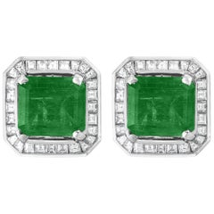 AGL Certified Minor Traditional 5 Carat Colombian Emerald Diamond  Stud Earrings