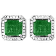 AGL Certified Minor Traditional 5 Carat Colombian Emerald Diamond  Stud Earrings