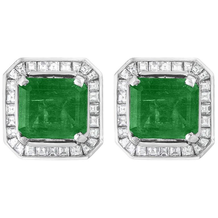 AGL Certified Minor Traditional 5 Carat Colombian Emerald Diamond  Stud Earrings For Sale