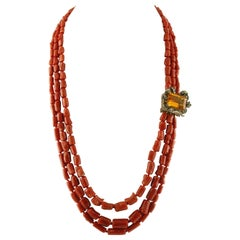Coral, Yellow Topaz, Diamonds, Emeralds Beaded Necklace