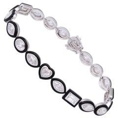 Black Agate Fancy Shape Diamond White Gold Bracelet