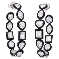 Fancy Shape Diamond Black Agate White Gold Hoop Earclips