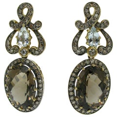2.25 Carat Diamond Topaz Quartz Earrings from Estate of Writer Jackie Collins