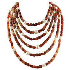Carnelian and Pearls Beautiful Multi-Strand Beaded Necklace