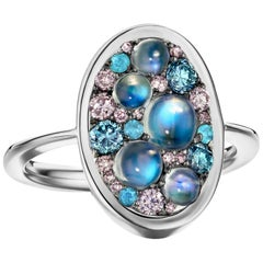 Ceylon Moonstone, 0,46 ct. Pink & Blue Diamond, Paraïba Tourmaline Pave Ring