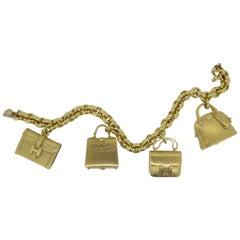 Hermes 18 Carat Yellow Gold Handbag Charm Bracelet
