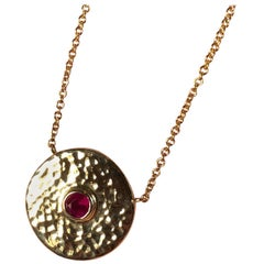 Ruby and 18 Karat Gold Pendant Necklace