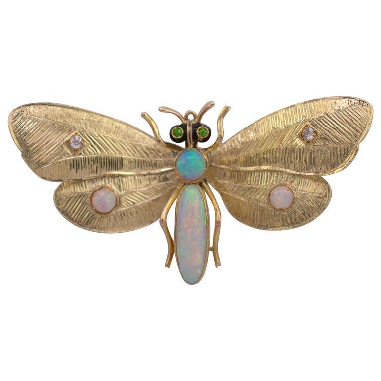 Genuine Art Nouveau Opal Butterfly Brooch Diamonds Garnets 14 Karat Gold Signed For Sale