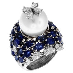 South Sea Pearl Blue Sapphire and Diamond Platinum Cocktail Ring