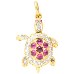 1980s 0.56 Carat Diamond Ruby 18 Karat Gold Turtle Charm