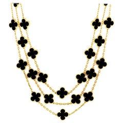 Van Cleef & Arpels Vintage Alhambra 29 Motif Onyx Yellow Gold Necklace