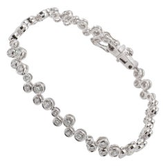 Contemporary 18 Karat White Gold White Diamond Bracelet Bezel Set