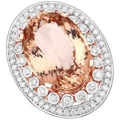 17.02 Carat Morganite and 1.17 Carat Diamond 14 Karat Rose Gold Cocktail Ring