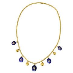 Victorian circa 1870 Enamel Seed Pearl Diamond 18 Karat Gold Necklace
