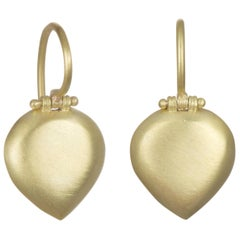 Faye Kim 18 Karat Matte Gold Pear-Shaped Hinged Chiclet Earrings