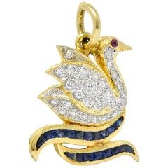 1980s 0.40 Carat Diamond Sapphire Ruby 18 Karat Gold Swan Charm