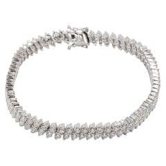 Contemporary 18 Karat White Gold White Diamond Two Rows Bracelet