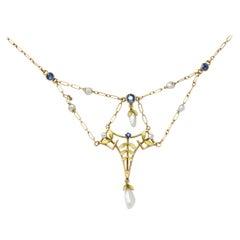 Krementz Art Nouveau Sapphire Enamel Pearl 14 Karat Gold Swag Necklace