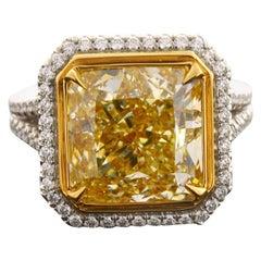 GIA Certified 8.93 Carat Radiant Cut Natural Fancy Yellow VS2 Diamond Platinum