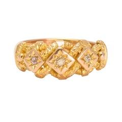Antique Victorian Diamond Curb-Link Keeper Ring