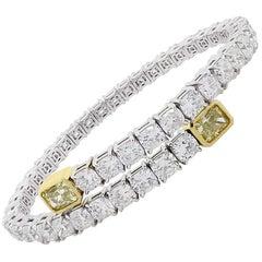 Cushion and Radiant Cut Diamond Open Cuff Wrap Bracelet