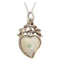Georgian Turquoise Diamond Garnet Witches Heart Pendant