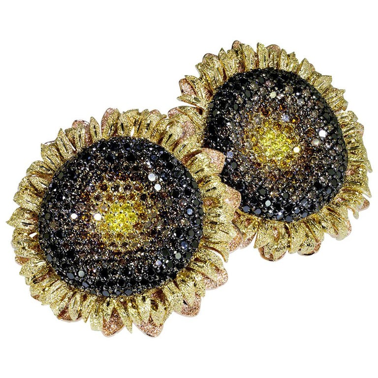 Alex Soldier Diamond Gold Textured Sunflower Earrings Cufflinks One of a Kind For Sale