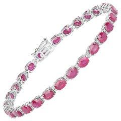 12.15 Carat Ruby Ovals and Diamond 14 Karat White Gold Tennis Bracelet