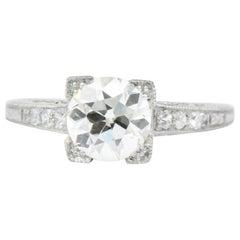 Late Art Deco 1.17 Carat Diamond Platinum Engagement Ring GIA