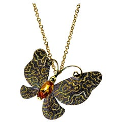 Citrine Gold Butterfly Hand-Textured Pendant Necklace Pin on Chain