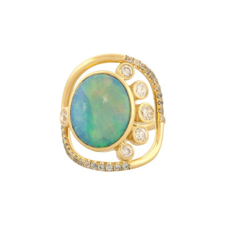 Mociun Australian Opal, Diamond and Sapphire Ring For Sale