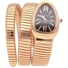 Bulgari Serpenti Tubogas 18 Karat Rose Gold Diamond Watch