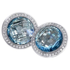 Blue Topaz Diamond Gold Stud Earrings Cufflinks One of a Kind