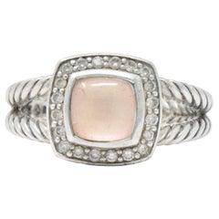 David Yurman Diamond Pink Mother of Pearl Sterling Silver Albion Ring