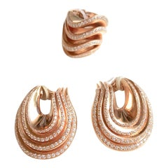 De Grisogono Set Ring and Earrings 18 Kt Pink Gold And Diamonds Onde Collection
