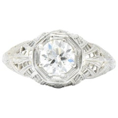 Edwardian 0.63 Carat Diamond 18 Karat White Gold Engagement Ring GIA