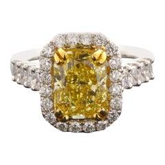 GIA Certified 3.55 Carat Cushion Cut Natural Fancy Intense Yellow VS2 Diamond