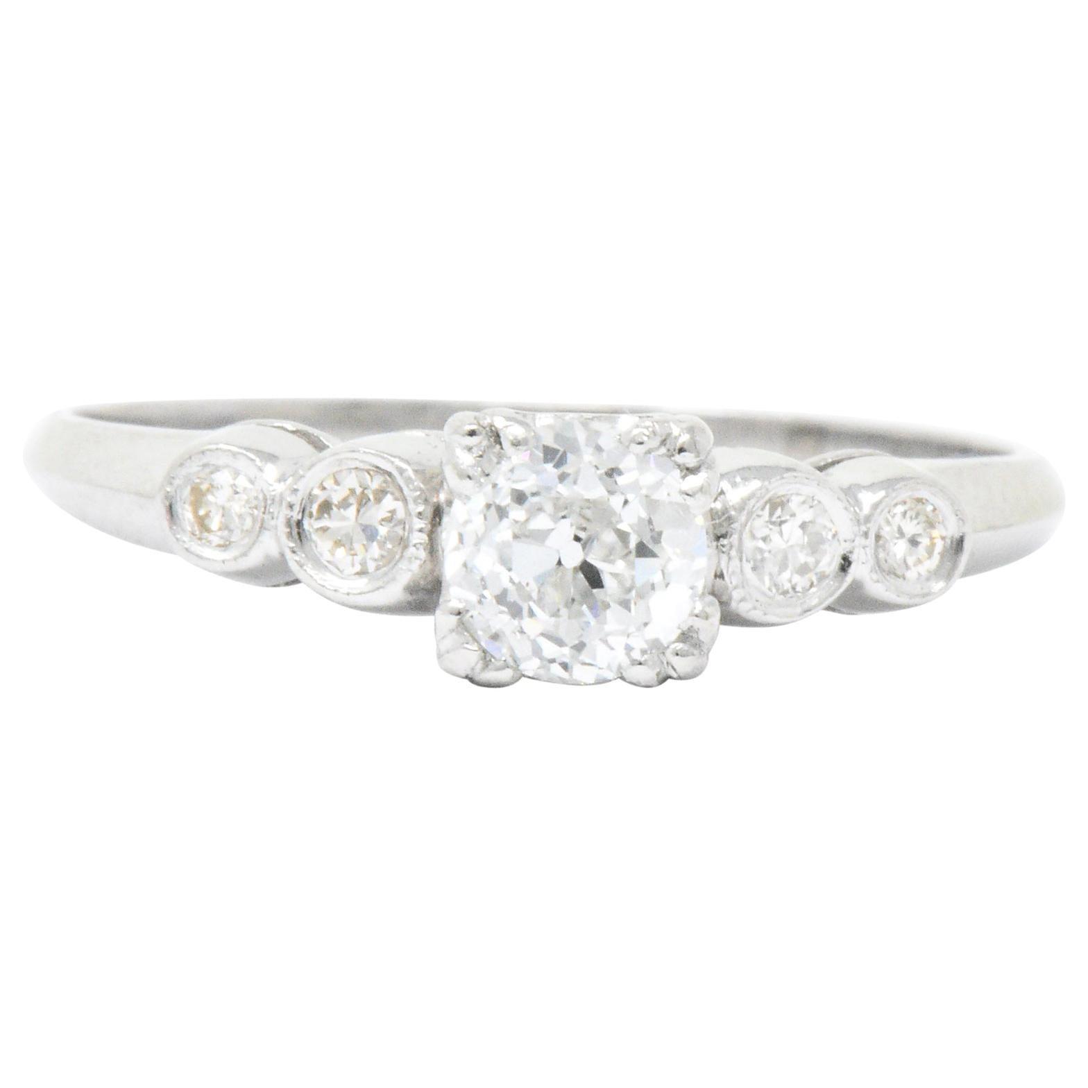 Retro 0.71 Carat Diamond Platinum Five Stone Engagement Ring GIA