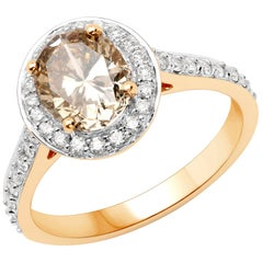 1.74 Carat Champagne Diamond and 0.44 Carat Diamond 18 Karat Gold Bridal Ring