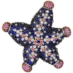 Alex Soldier Sapphire Diamond Gold Starfish Ring Brooch Necklace Bracelet Cuff