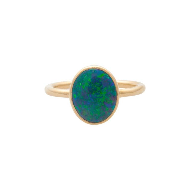 Mociun 1.88 Carat Australian Black Opal Ring For Sale