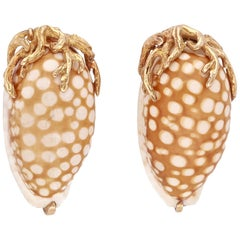 Seaman Schepps 14 Karat Yellow Gold Sea Shell Clip-On Earrings
