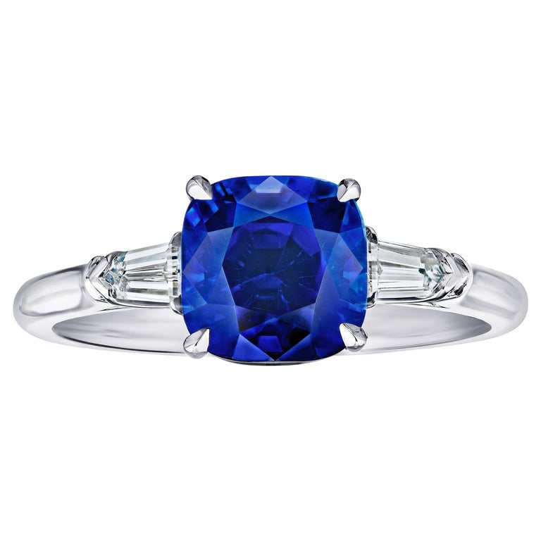 3.65 Carat Cushion Blue Sapphire and Diamond Ring For Sale
