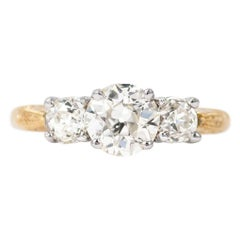 J. Birnbach Old European Cut Three-Stone Diamond Ring