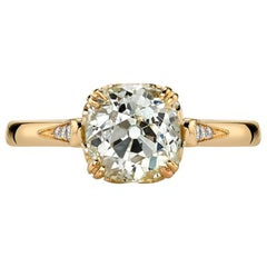 EGL Certified Old European Cut Diamond Gold Engagement Ring